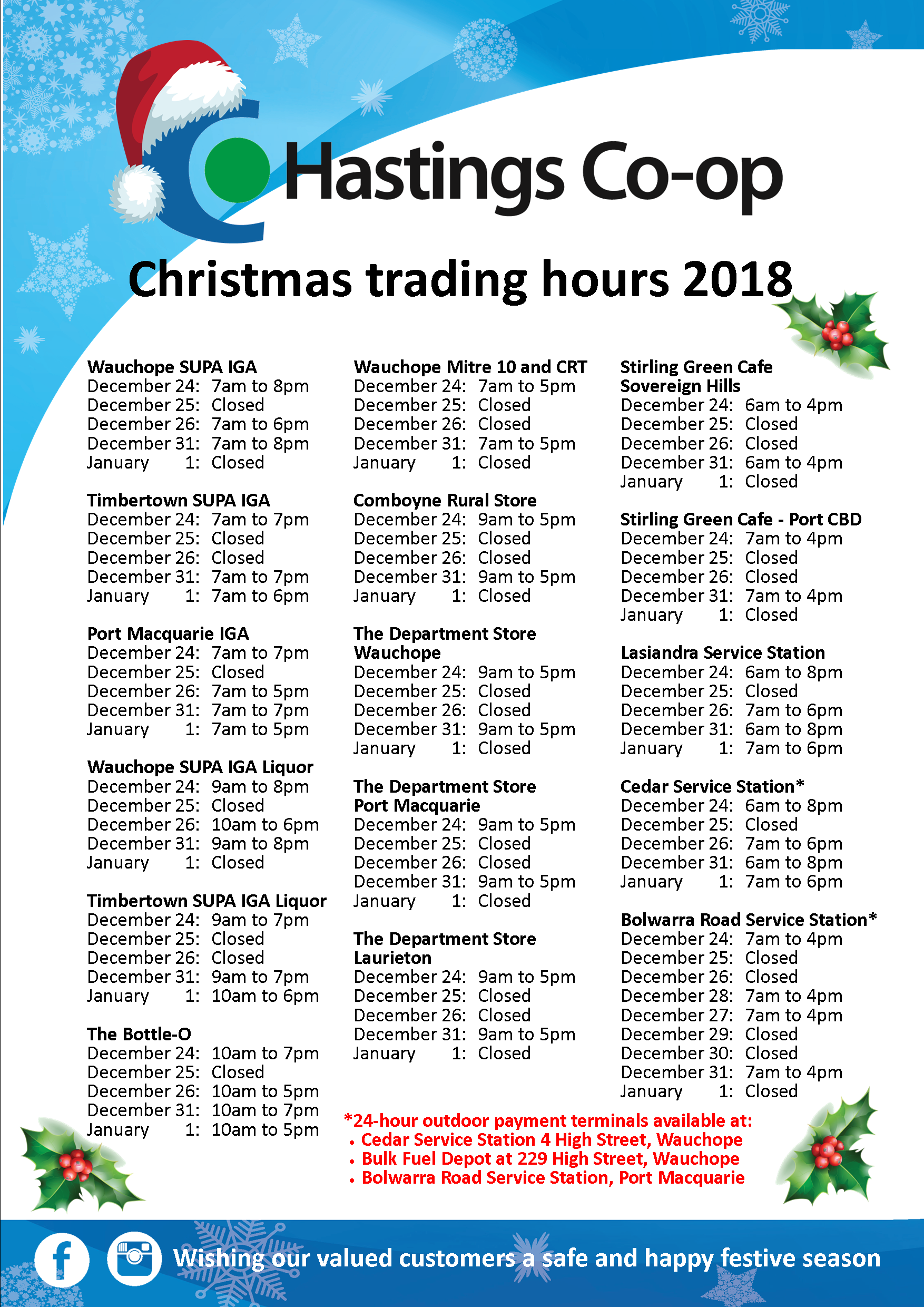 2018 Christmas trading hours | Hastings Co-op