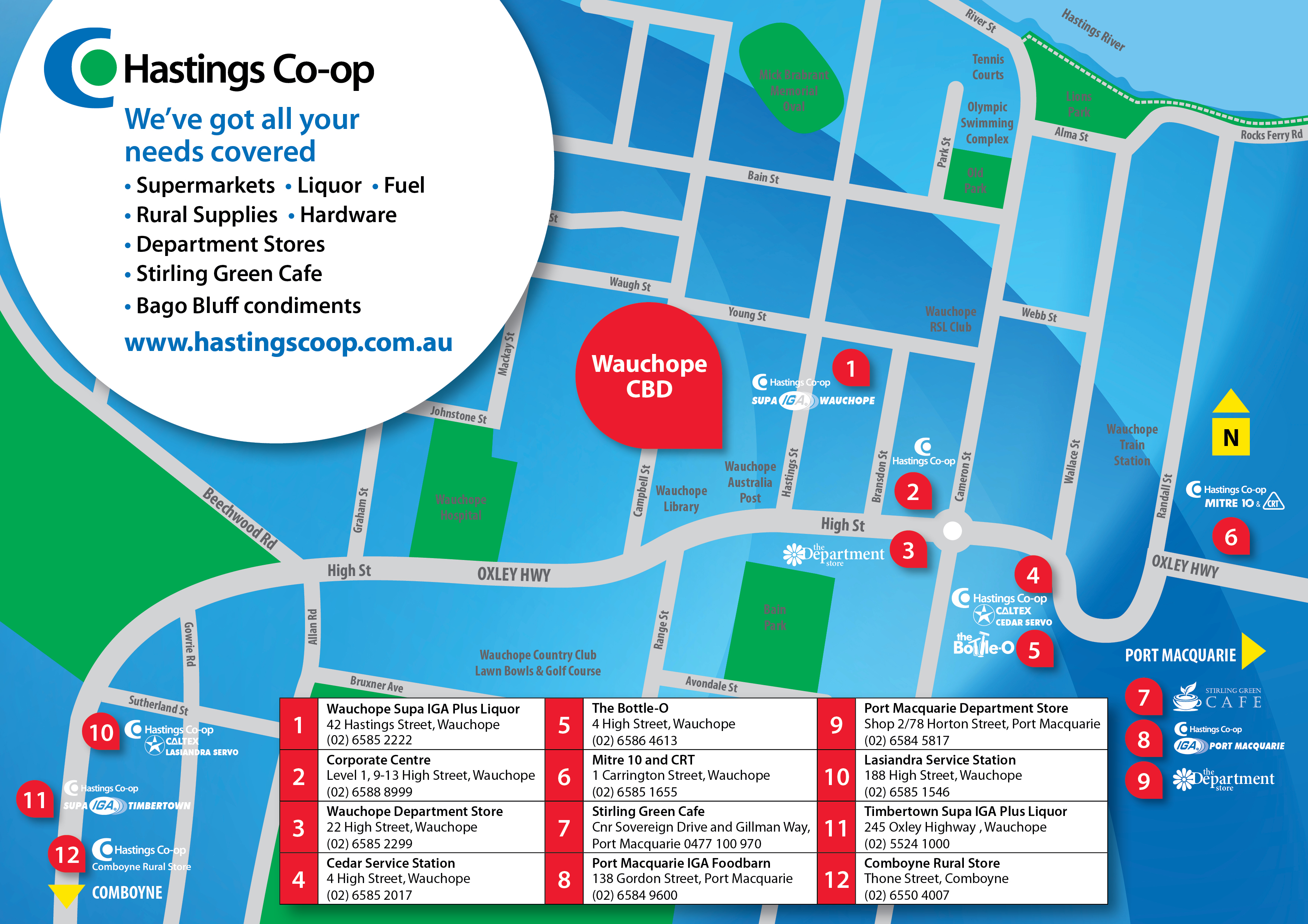 Hastings Co-op map of businesses