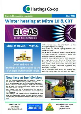 May 2017 newsletter for the Hastings Co-op