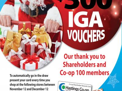 Win one of six $300 IGA vouchers poster