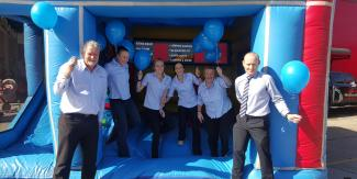 Corporate Centre jumping on jumping castle