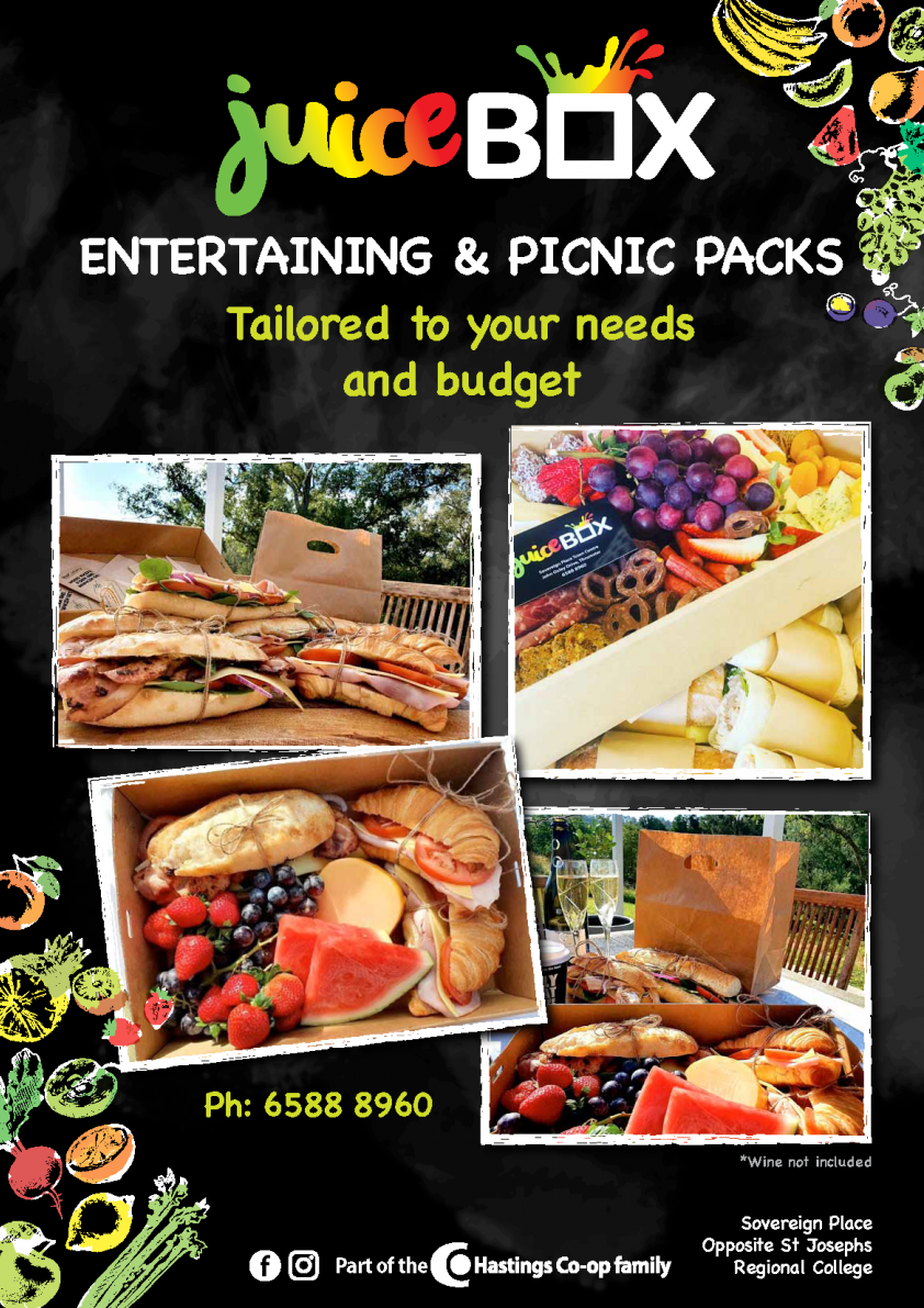 Juice Box Entertaining & picnic pack flyer