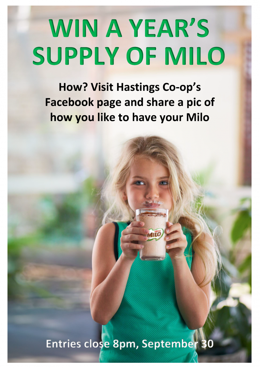 Win a year's supply of milo poster